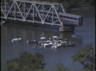 Aerial and Boat Views of Amtrak Train Derailment, Mobile ...